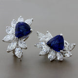 Spectacular Blue Sapphire Diamond Cluster Earrings