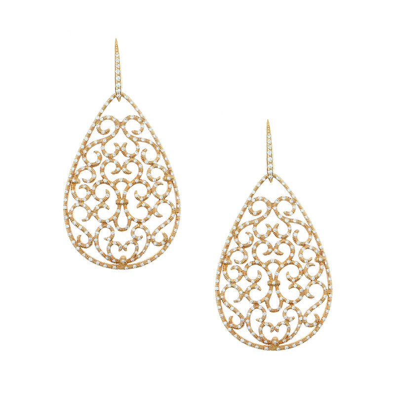 Diamond Gold Drop Earrings