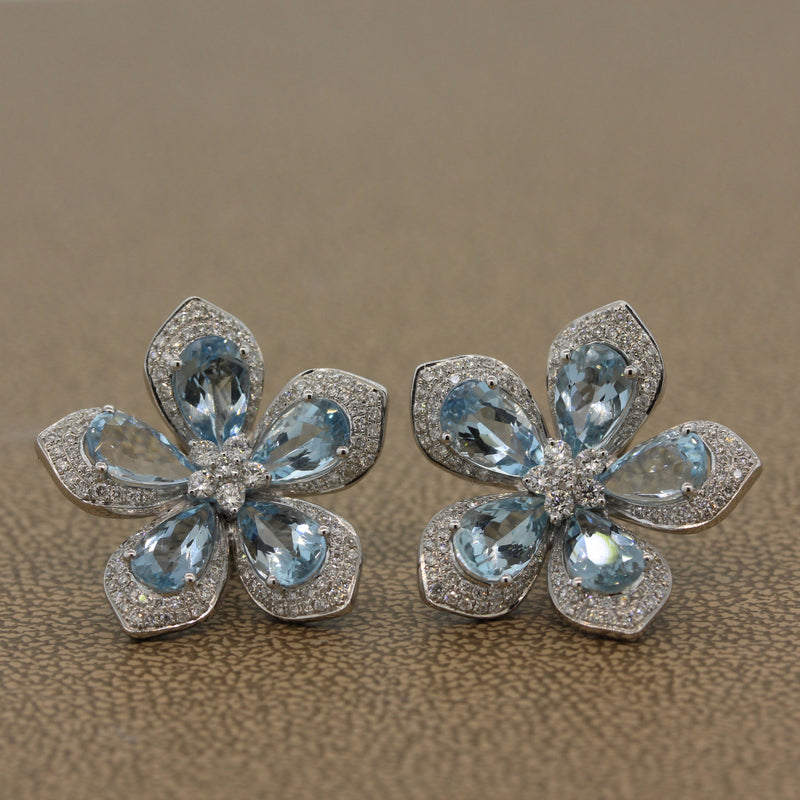 Aquamarine Diamond Gold Flower Earrings