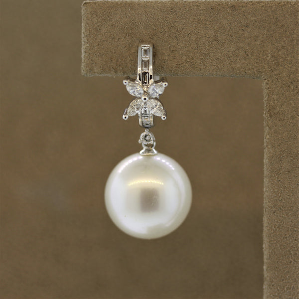Extra Fine South Sea Pearl Diamond Gold Drop Earrings