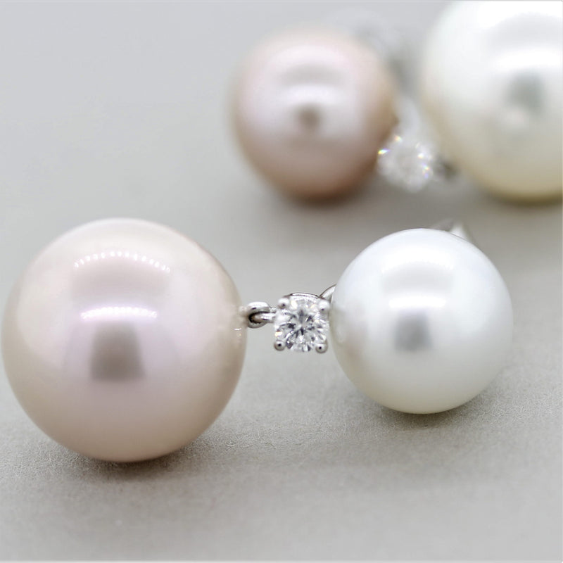 Pink & White South Sea Pearl Diamond Gold Drop Earrings