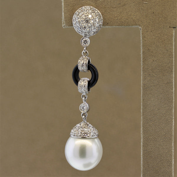 Luxurious South Sea Pearl Diamond Onyx Gold Drop Earrings
