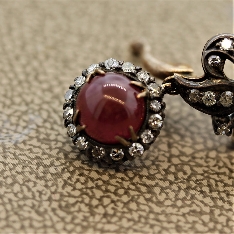 Antique Ruby Diamond Gold & Silver-topped Drop Earrings
