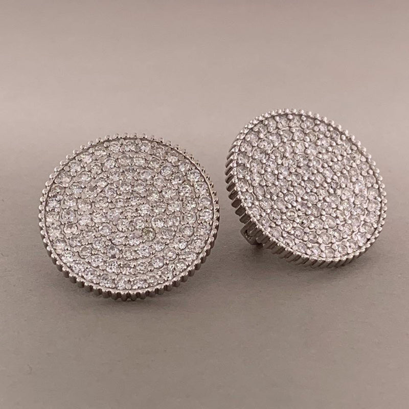Diamond Gold Button Earrings