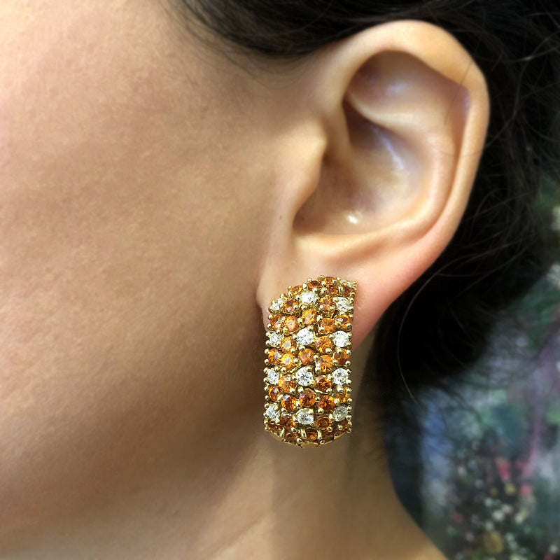 Valente Citrine Diamond Gold Earrings