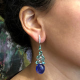 Cabochon Tanzanite Emerald Diamond Gold Earrings