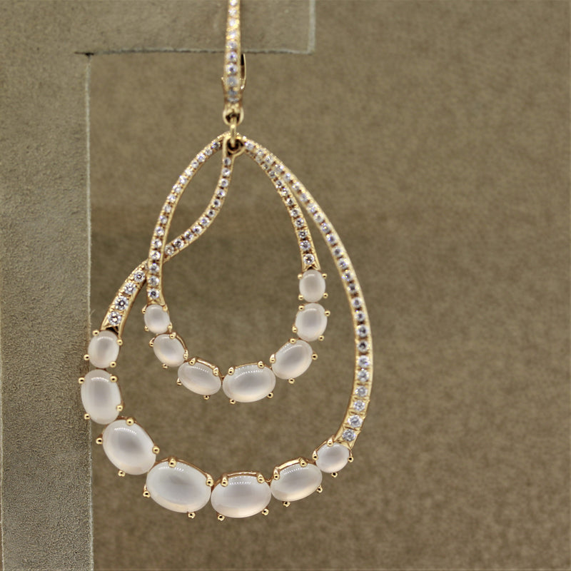 Moonstone Diamond Gold Drop Earrings