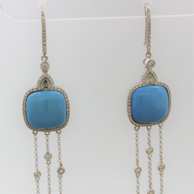 Turquoise Diamond Gold Tassel Drop Earrings