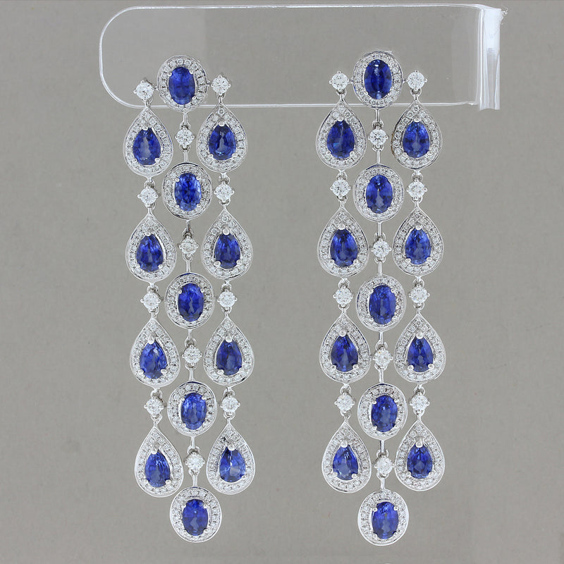 Blue Sapphire Diamond Gold Chandelier Drop Earrings