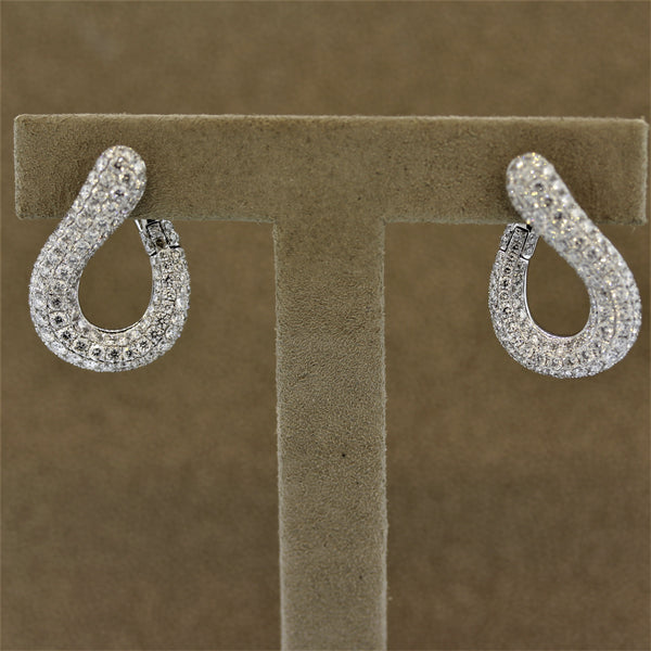 Modern Diamond Pave Gold Earrings