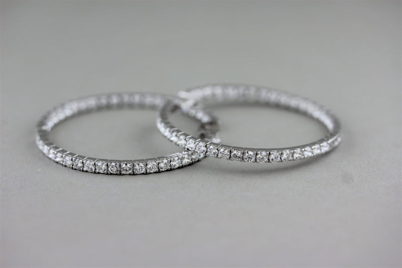 Large Diamond Inside-Out Gold Hoop Earrings