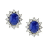 Blue Sapphire Cabochon Diamond Platinum Earrings