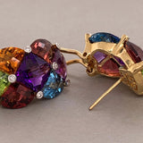Bellarri Diamond Multi-Color Gemstone Gold Ear-Clip Earrings
