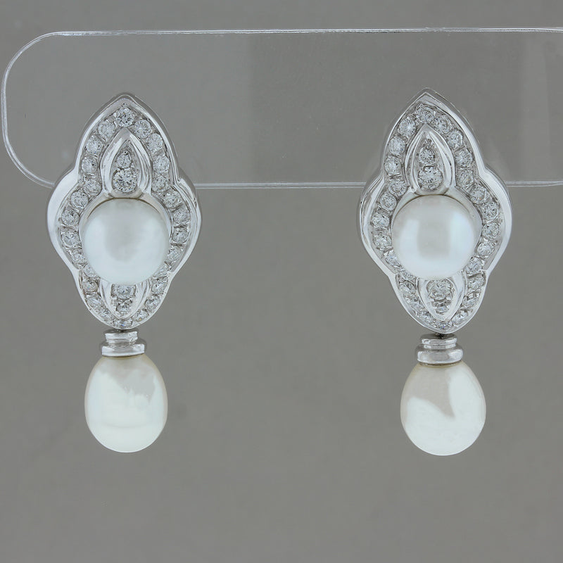 Akoya Pearl Diamond Gold Drop Earrings