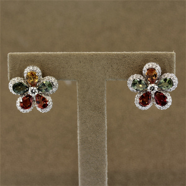 Fancy Color Sapphire Diamond Gold Flower Earrings