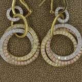 Diamond Multi-Hoop Gold Dangle Earrings