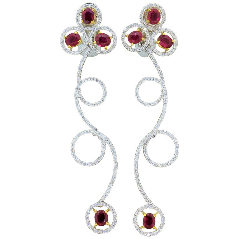 Ruby Diamond Gold Drop Spiral Earrings