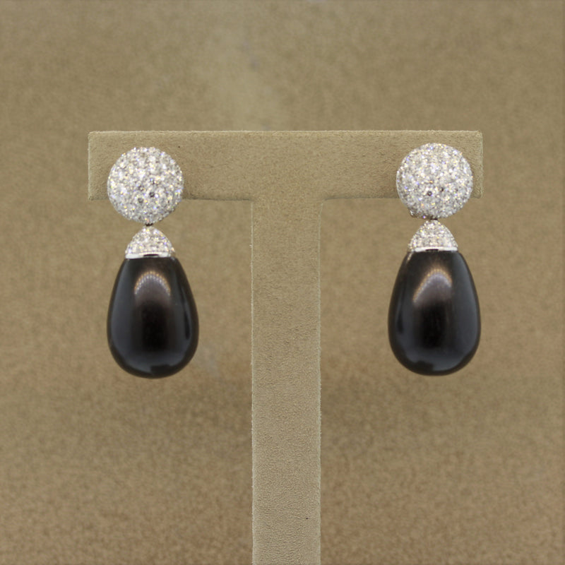 Natural Black Coral Diamond Gold Drop Earrings