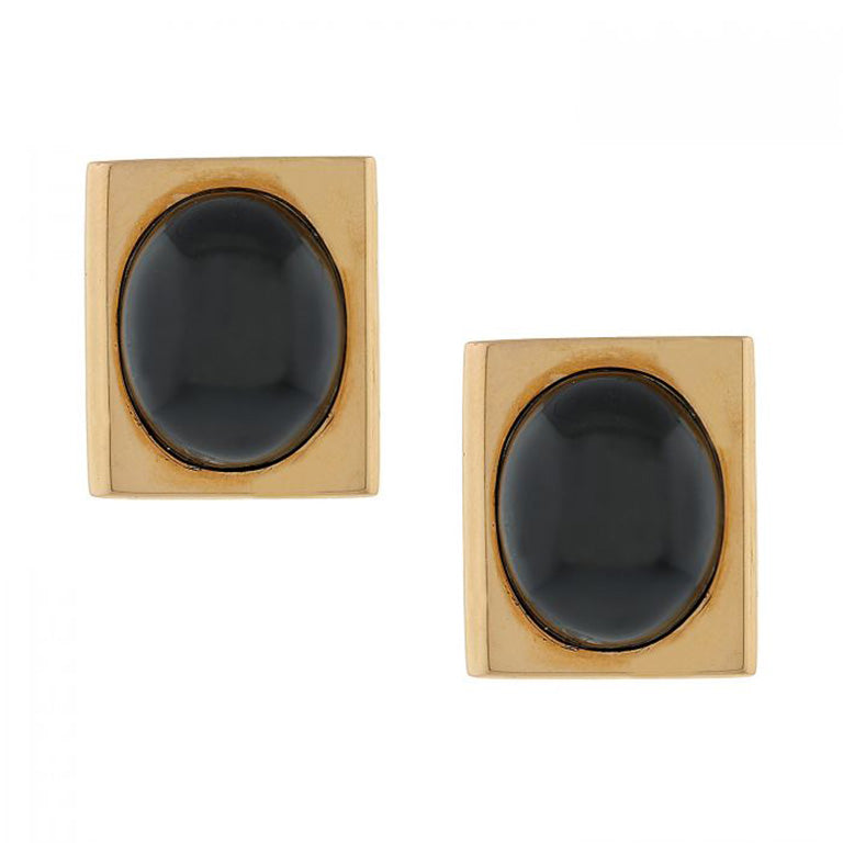 Black Star Diopside Gold Earring