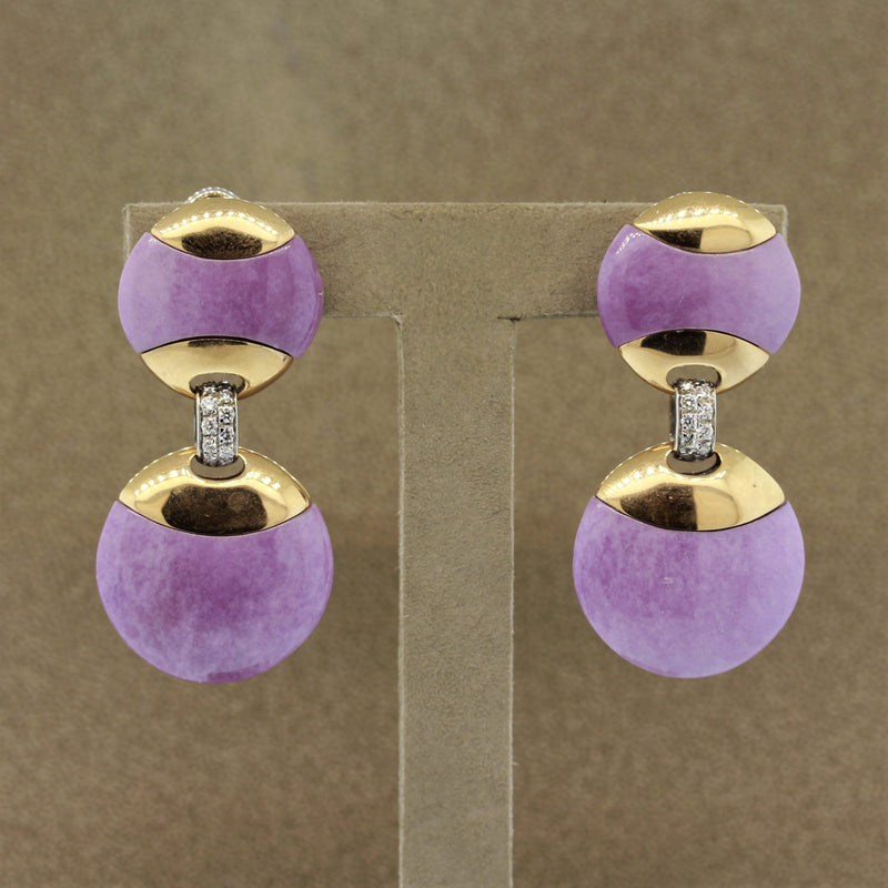 Lavender Jadeite Jade Diamond Gold Disc Drop Earrings