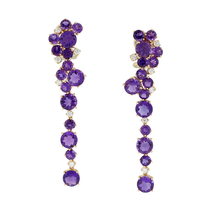 Amethyst Diamond Rose Gold Drop Earrings