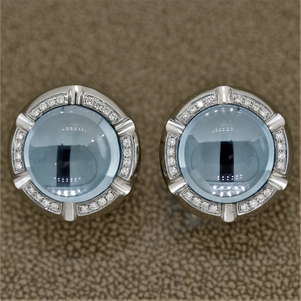 Blue Topaz Diamond Gold Button Earrings