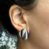 Black and White Onyx Diamond Gold Striped Earrings