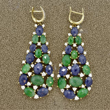 Sapphire Jade Diamond Gold Drop Earrings