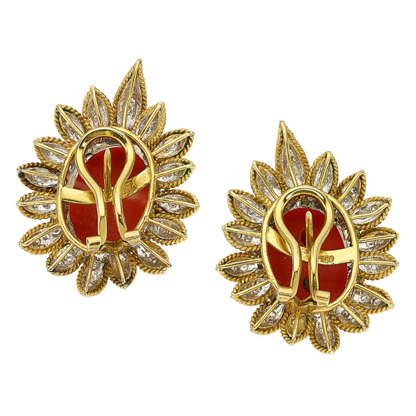 Estate Coral Cabochon Diamond Gold Earrings