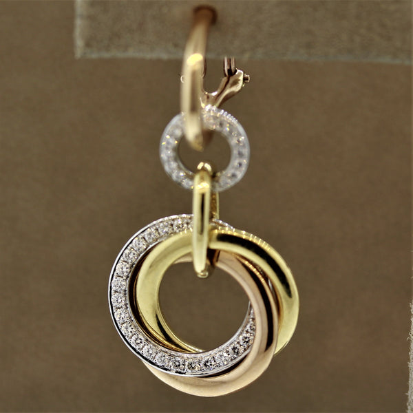 Diamond Multi-Hoop Drop Tri-Tone Gold Earrings