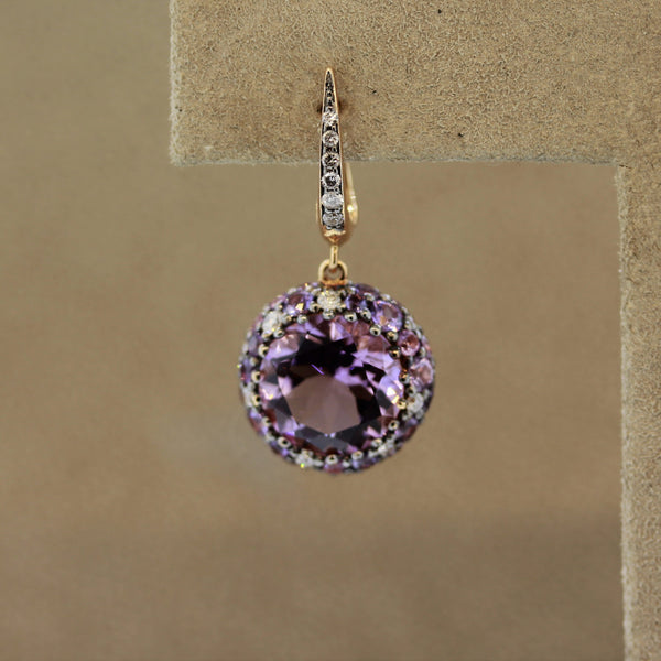 Amethyst Sapphire Diamond Gold Drop Earrings