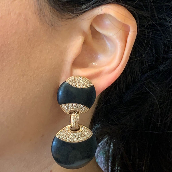 Black Coral Diamond Gold Drop Earrings