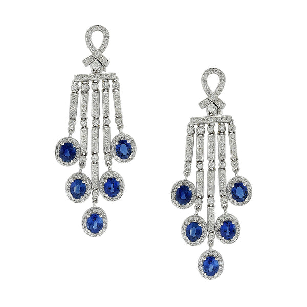 Blue Sapphire Diamond Chandelier Drop Earrings