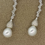 Long Pearl Diamond Gold Drop Earrings