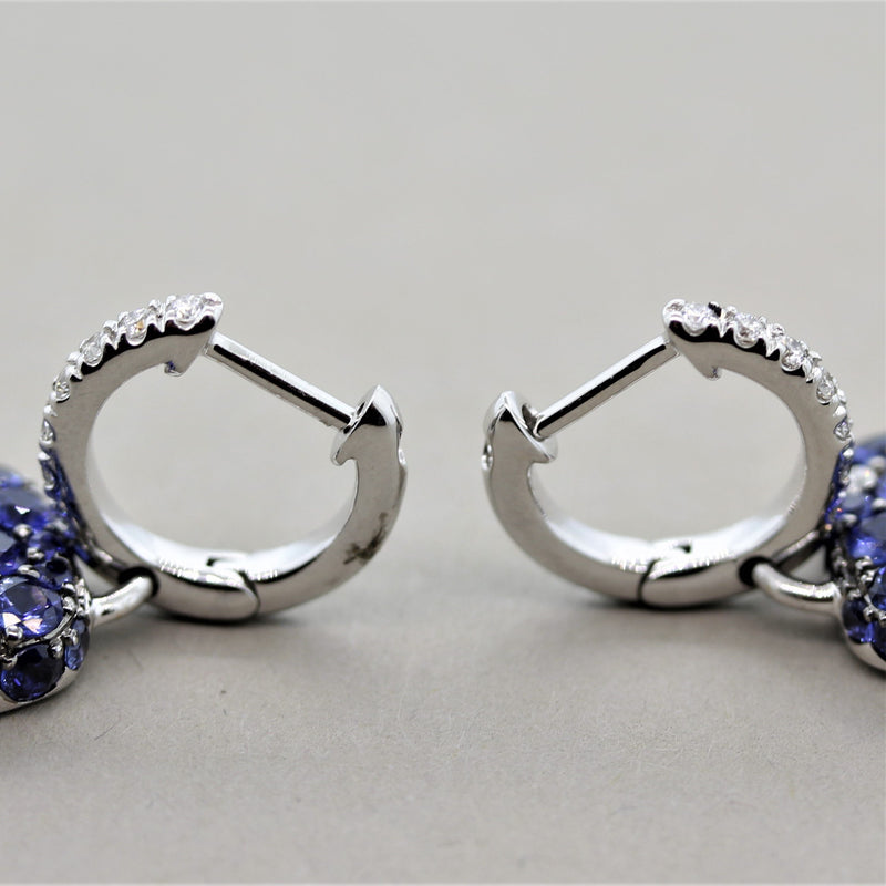 Blue Sapphire Diamond Pave Gold Drop Earrings