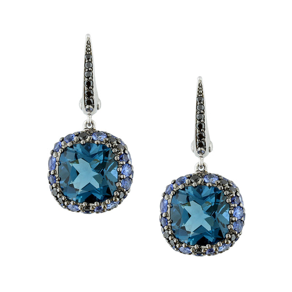 London Blue Topaz Sapphire Black Diamond Gold Cluster Drop Earrings