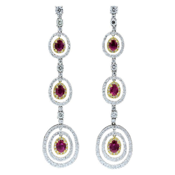 Ruby Diamond Gold Drop Earrings