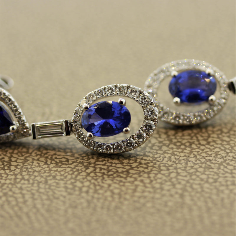Blue Sapphire Diamond Gold Drop Earrings
