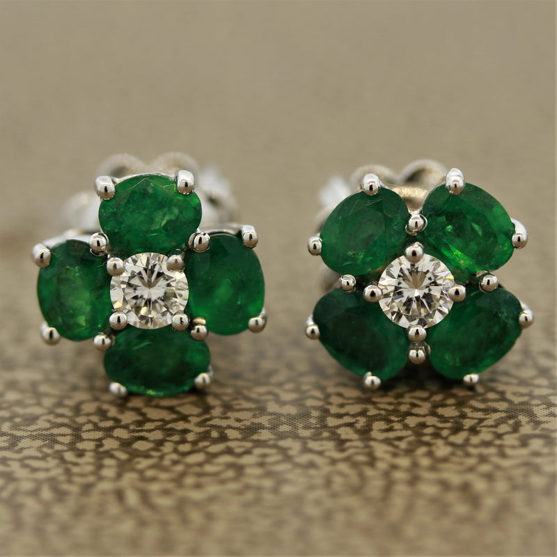 Emerald Diamond Gold Cluster Stud Earrings