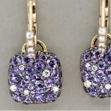 Purple Sapphire Diamond Gold Drop Earrings