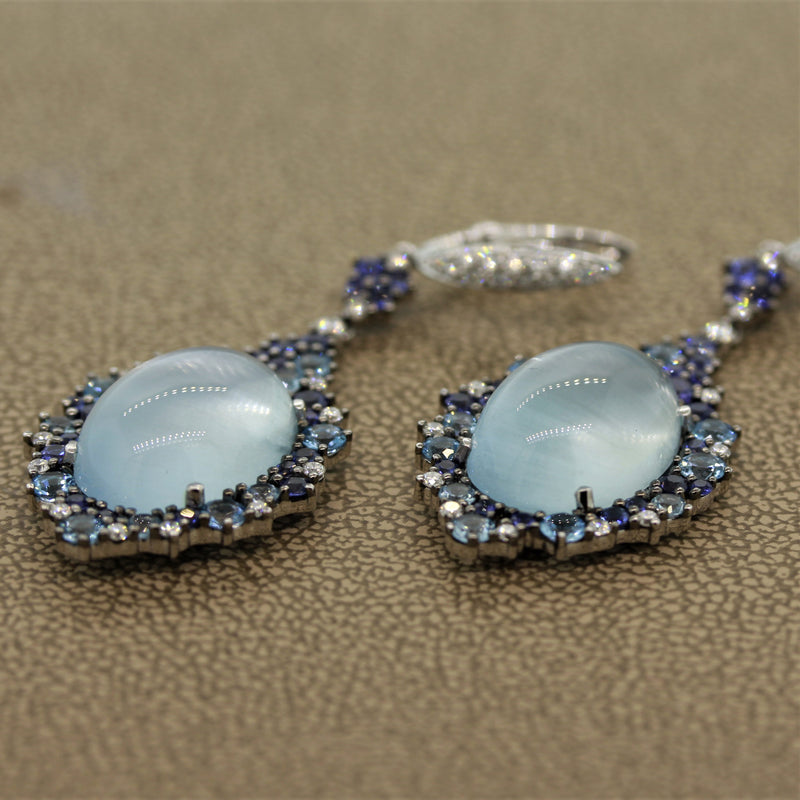Moonstone Diamond Sapphire Topaz Gold Drop Earrings