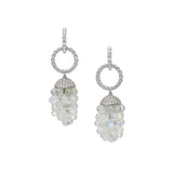 Moonstone Diamond Gold Chandelier Drop Earrings