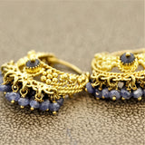 Sapphire Bead Gold Tassel Earrings