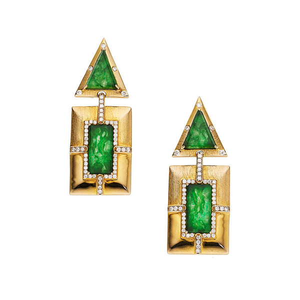 Estate Jadeite Jade Diamond Gold Drop Earrings