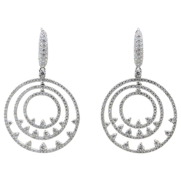 Modern Diamond Gold Triple-Hoop Drop Earrings