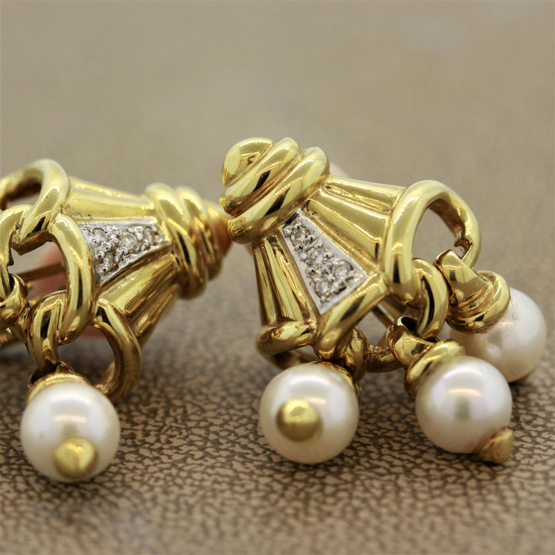 Pearl Diamond Gold Tassel Earrings