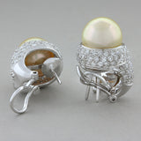 Golden South Sea Pearl Diamond Gold Earrings