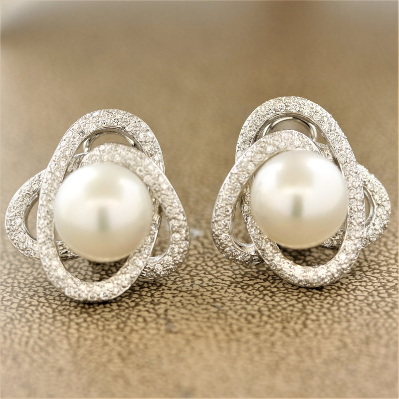 South Sea Pearl Diamond Gold Spiral Earrings