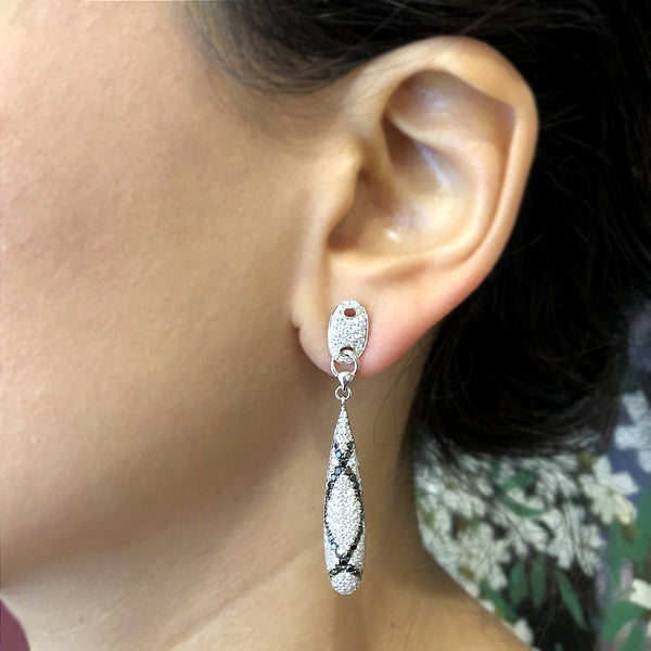 Black and White Diamond Gold Drop Earrings