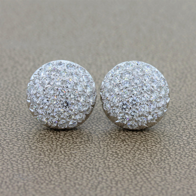 Diamond Platinum Cluster Button Earrings